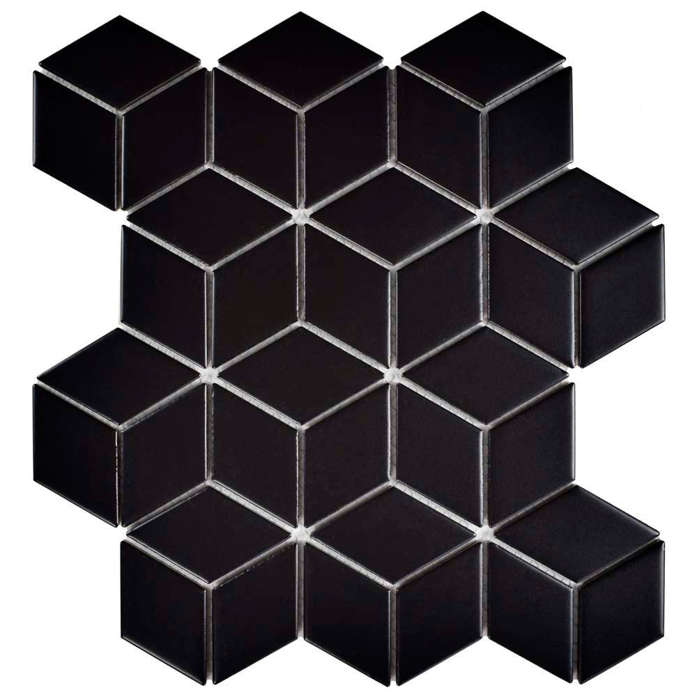 Metro Rhombus Matte Black 10-1/2 in. x 12-1/8 in. x 5 mm Porcelain Mosaic Tile (9.04 sq. ft. / case)