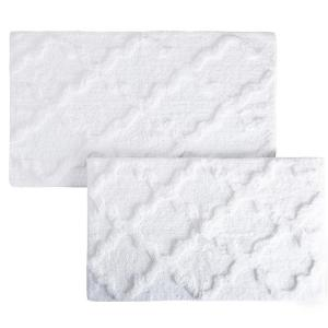 Trellis White 24.5 in. x 41 in. 2-Piece Mat Set