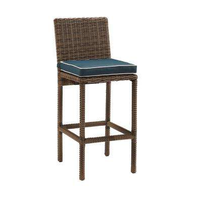Bradenton Wicker Outdoor Bar Stool with Navy Cushions (2-Pack)