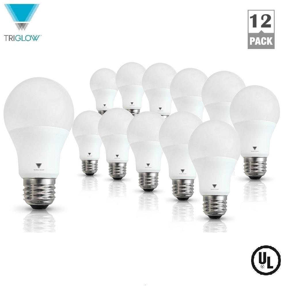 60-Watt Equivalent A19 800-Lumen E26 Base LED Light Bulb Soft White (12-Pack)