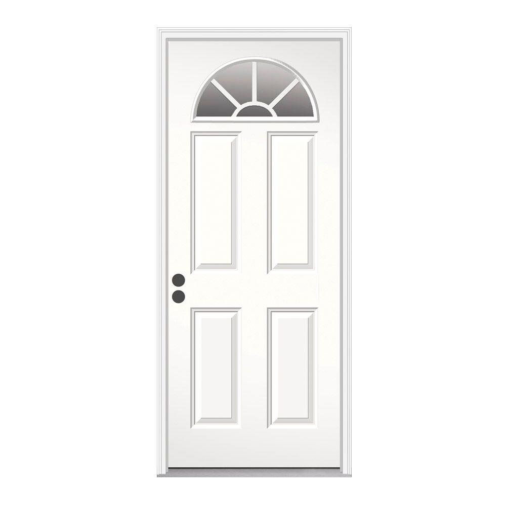 home depot prehung exterior door. Fan Lite Primed Steel Prehung Right JELD WEN 32 in  x 80 Hand