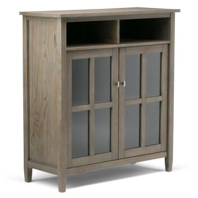 Warm Shaker Solid Wood 39 in. Wide Rustic Medium Storage Media Cabinet in Distressed Grey
