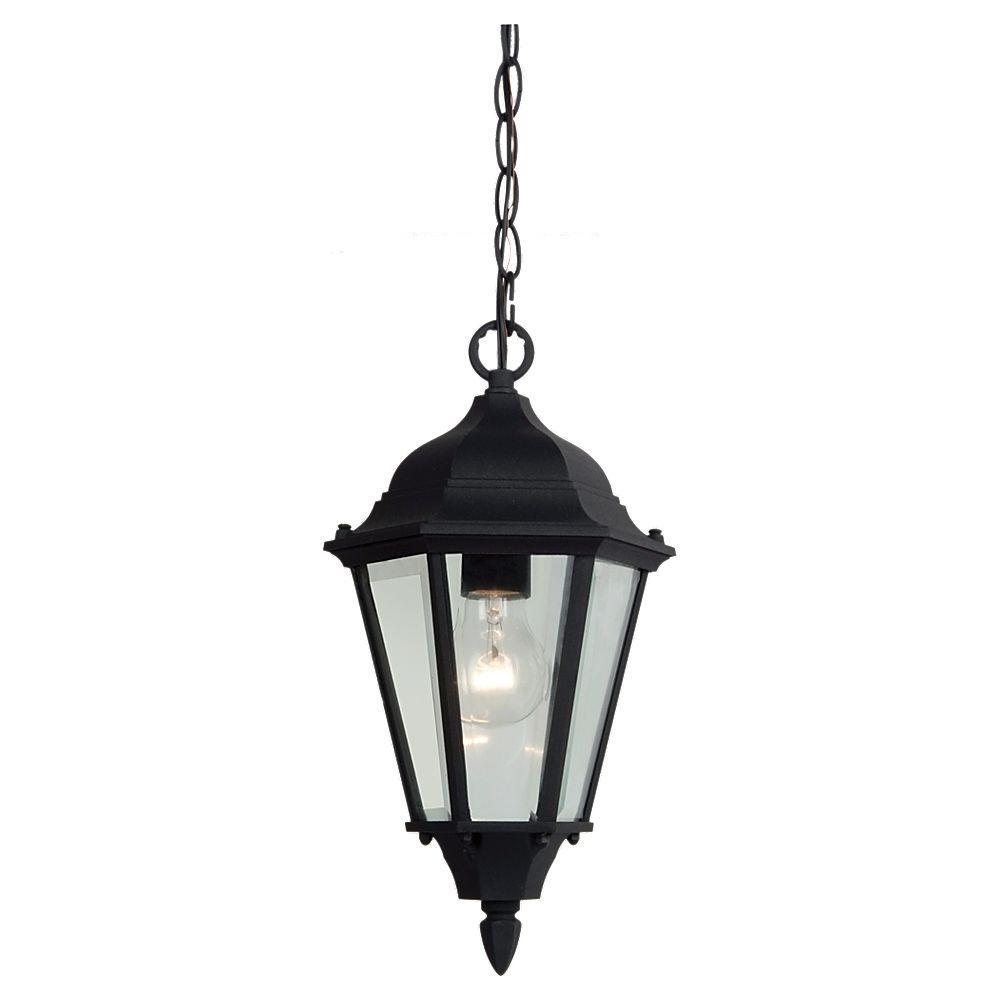 Sea Gull Lighting Bakersville 1-Light Black Outdoor Hanging Pendant Fixture