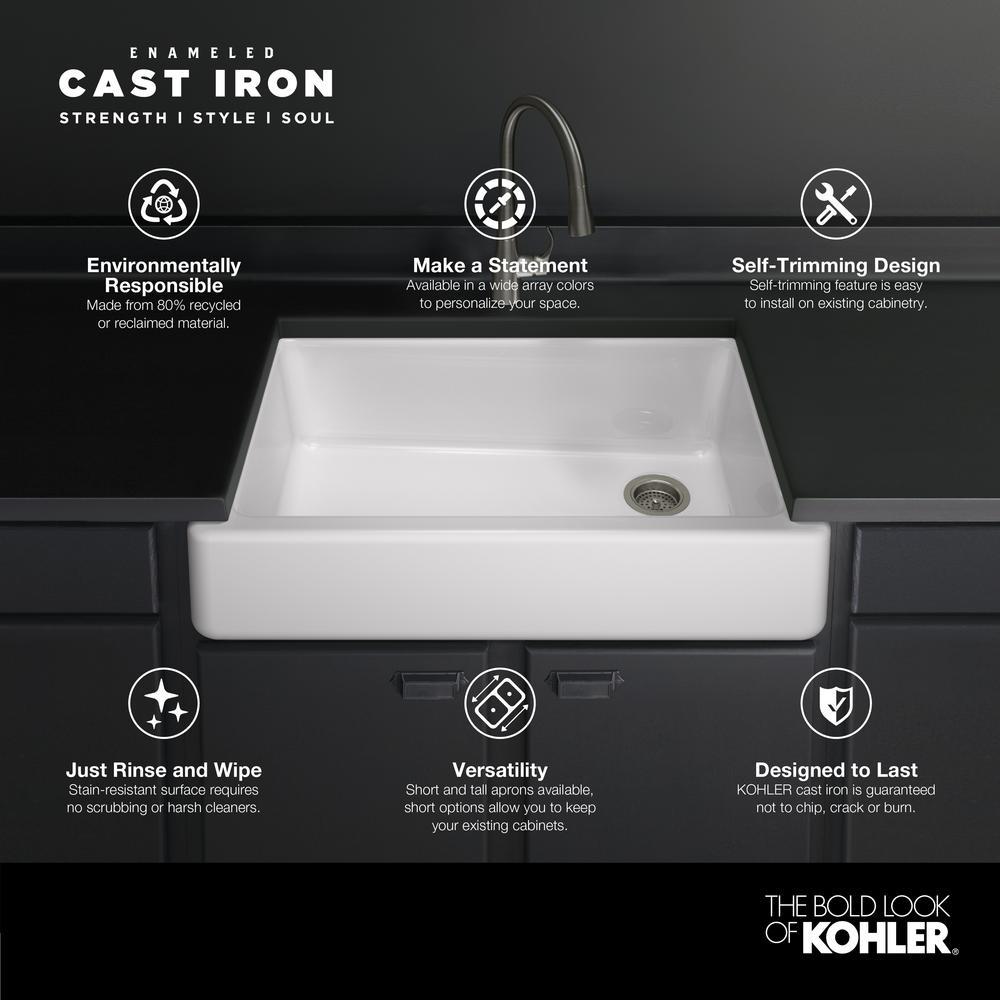 Whitehaven Undermount Farmhouse Apron Front Self-Trimming Cast Iron 32.5 in. Single Bowl Kitchen Sink in White
