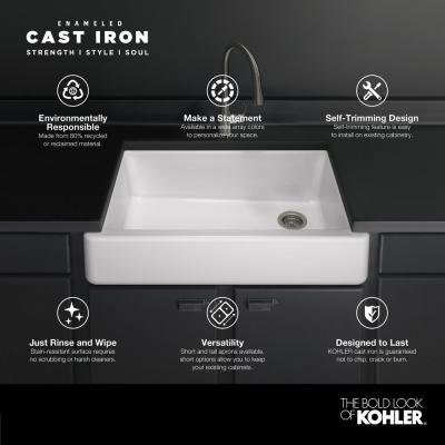 Whitehaven Smart Divide Self-Trimming Farmhouse Apron Front Cast Iron 36 in. Double Bowl Kitchen Sink in White