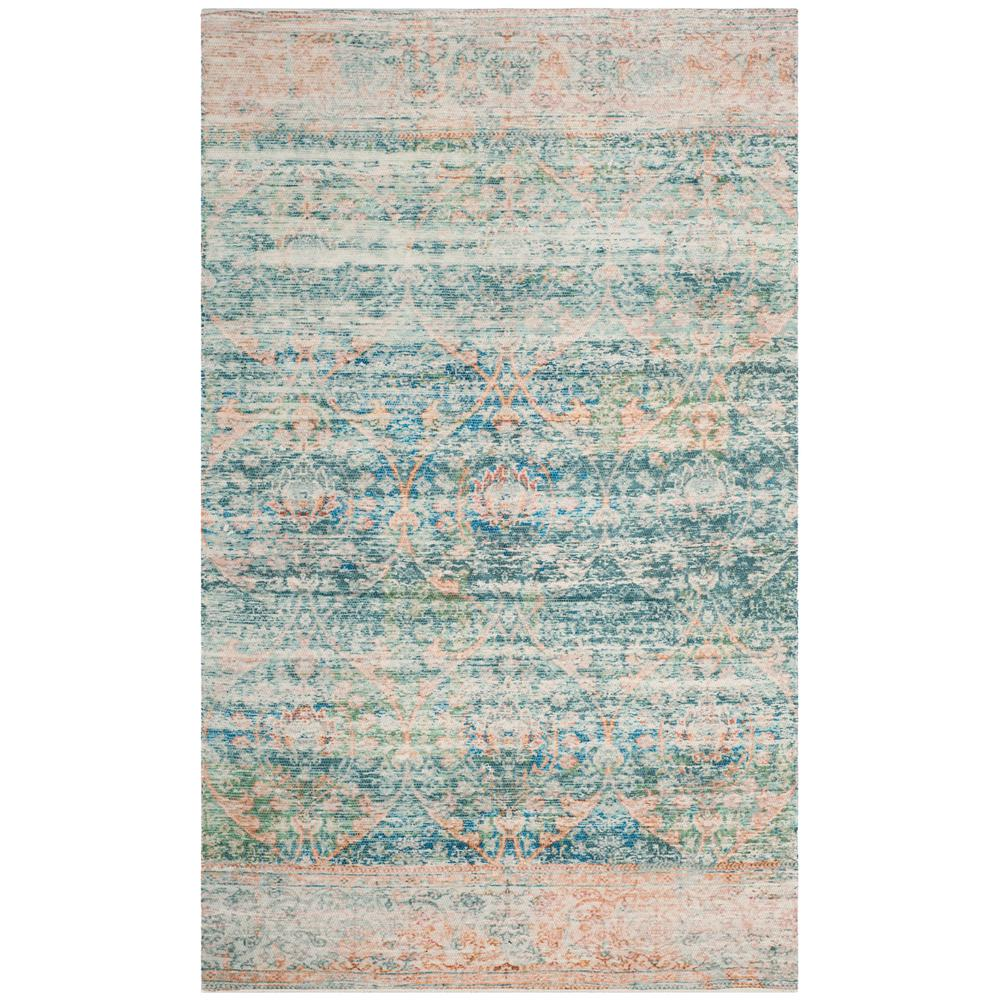 Safavieh Wyndham Turquoise Green 8 Ft X 10 Ft Area Rug: Safavieh Saffron Turquoise/Peach 8 Ft. X 10 Ft. Area Rug
