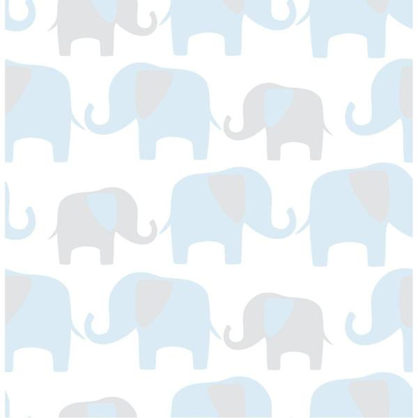 NuWallpaper Blue Elephant Parade Wallpaper NU1404