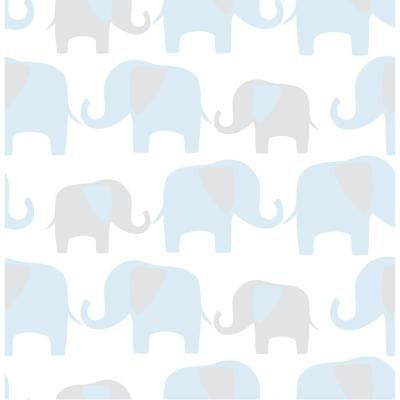 Blue Elephant Parade Blue Vinyl Strippable Roll (Covers 30.75 sq. ft.)