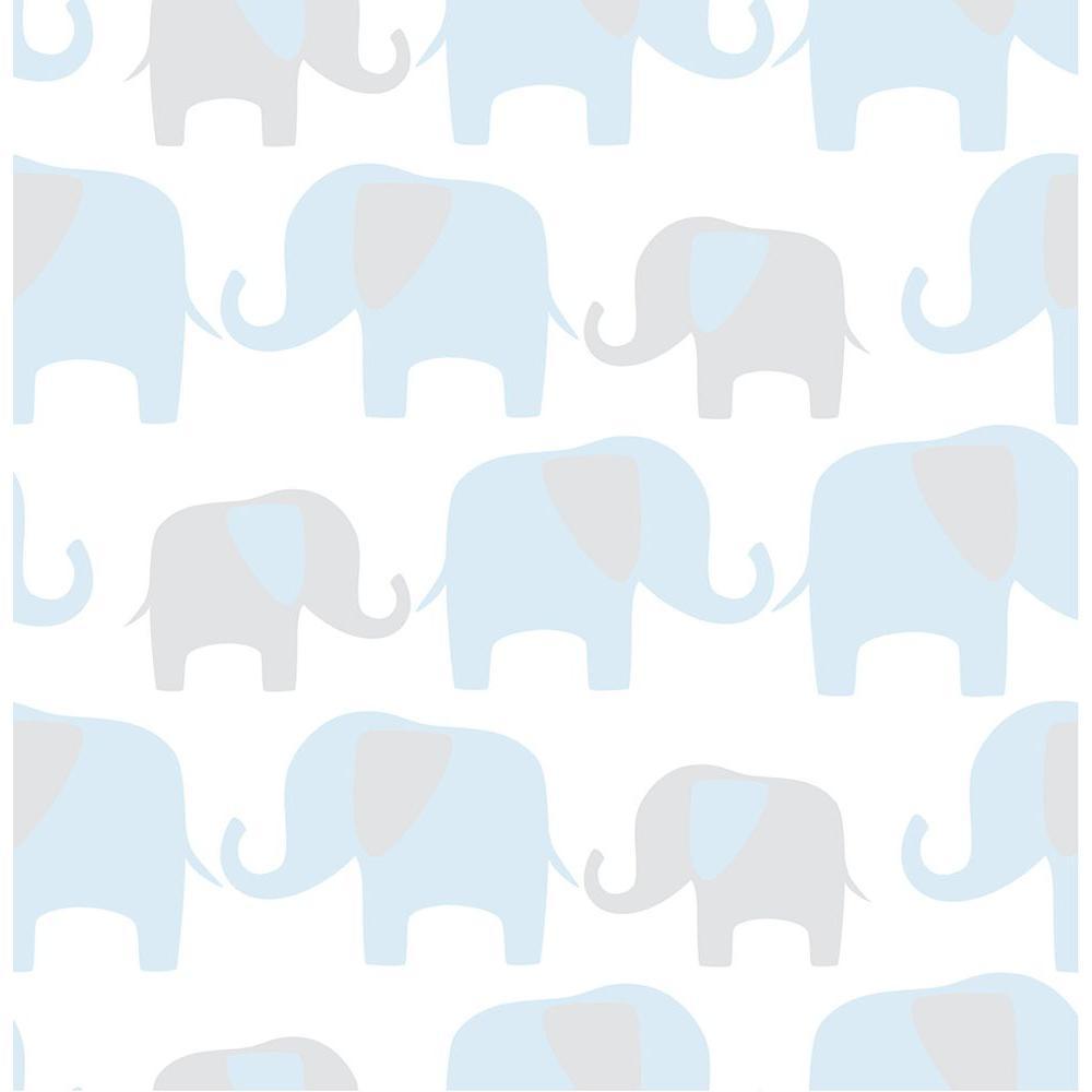 Blue Elephant Parade Blue Wallpaper Sample