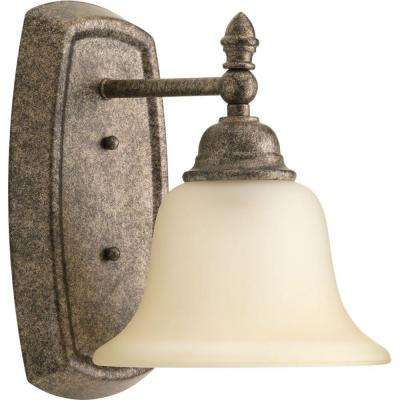 Spirit Collection 1-Light Pebbles Bath Sconce with Etched Light Umber Glass Shade