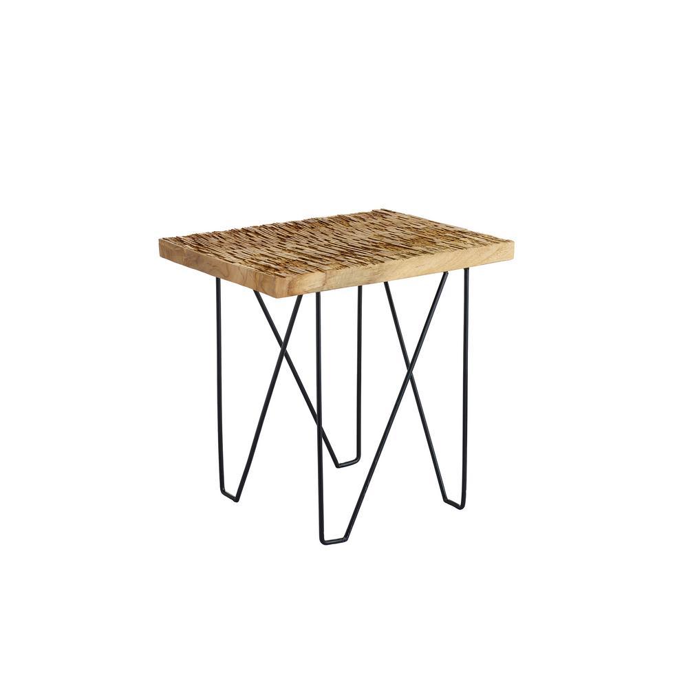 Rift Natural Brown Teak Wood Side Table