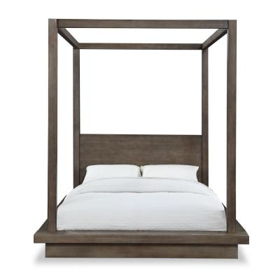 Melbourne Light Wood with Platform Bed Mattress Support Dark Pine California King Canopy Bed
