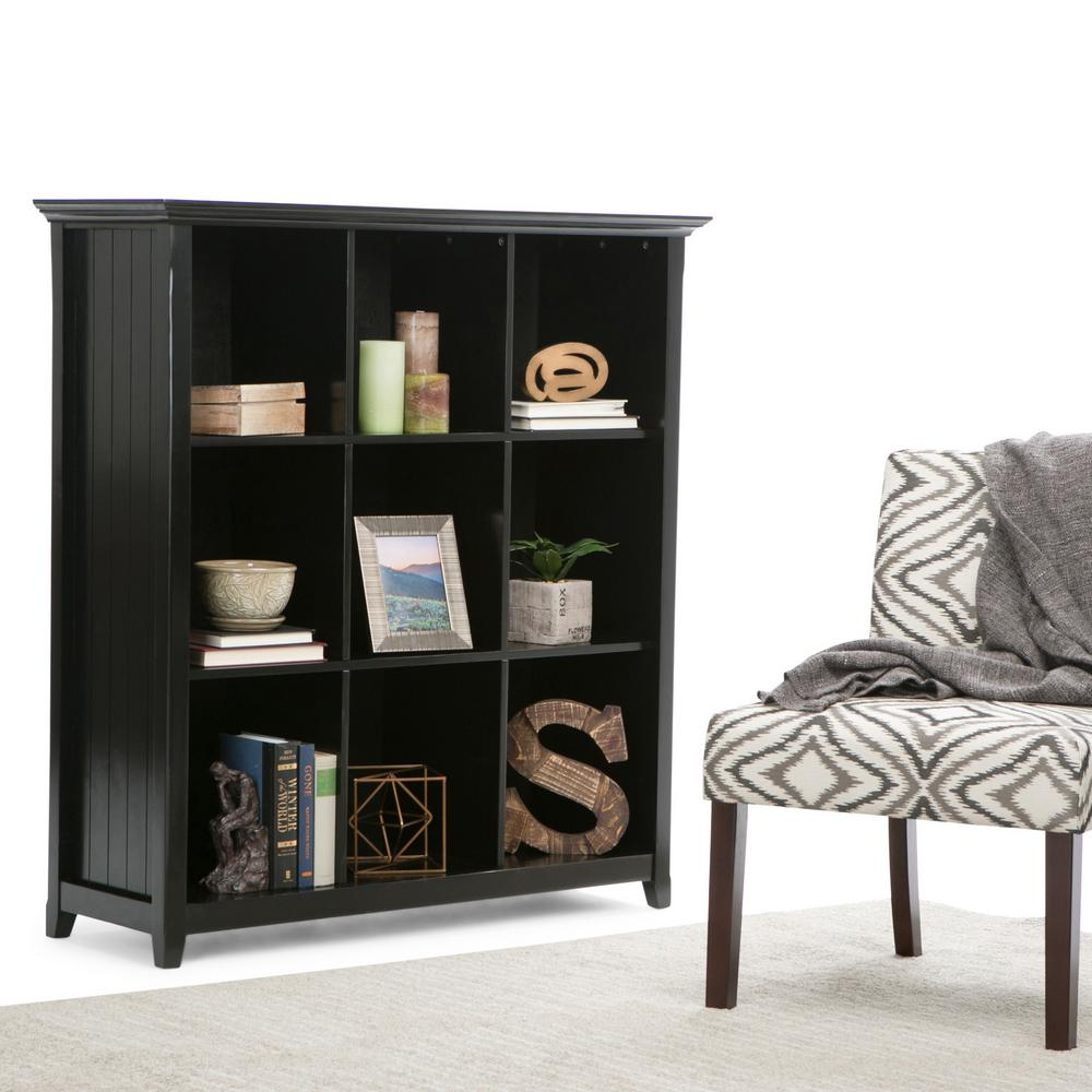 Simply Home Acadian Black Open Bookcase