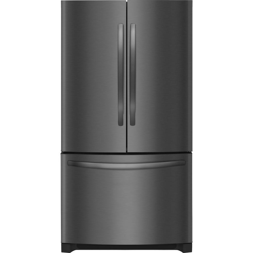 27.6 cu. ft. Non-Dispenser French Door Refrigerator in Black Stainless Steel,