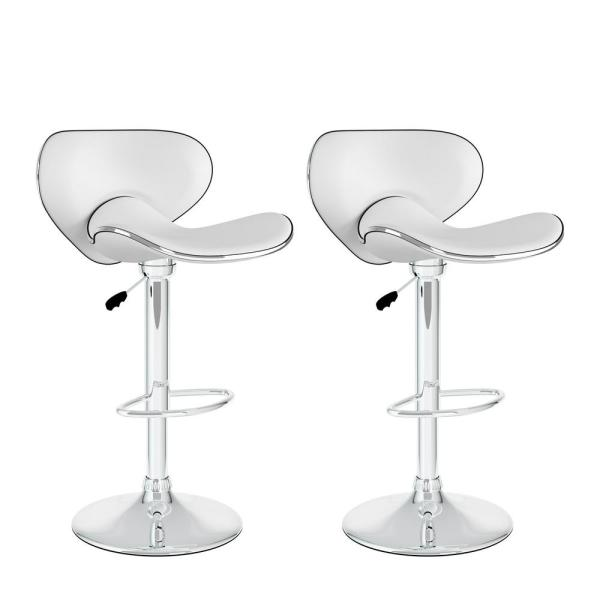 CorLiving Adjustable Height White Leatherette Curved Form Fitting Swivel Bar