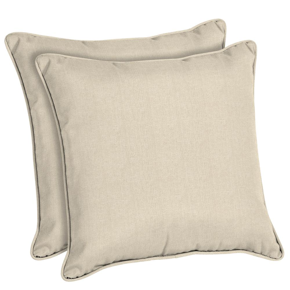 Home Decorators Collection Sunbrella Canvas Flax Square Outdoor Throw Pillow 2 Pack AH1P558B D9D2
