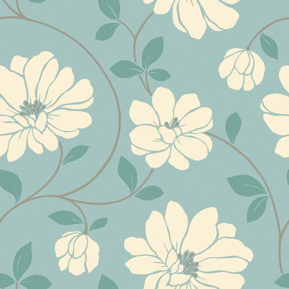 The Wallpaper Company 56 sq. ft. Aqua Large Floral Trail Wallpaper