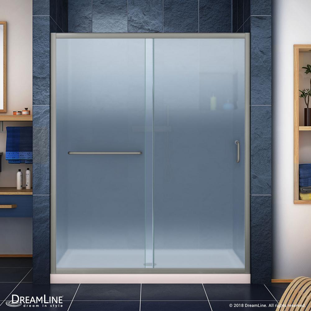 Infinity-Z 36 in. x 60 in. Semi-Frameless Sliding Shower Door in Brushed Nickel with Center Drain Shower Base in Biscuit