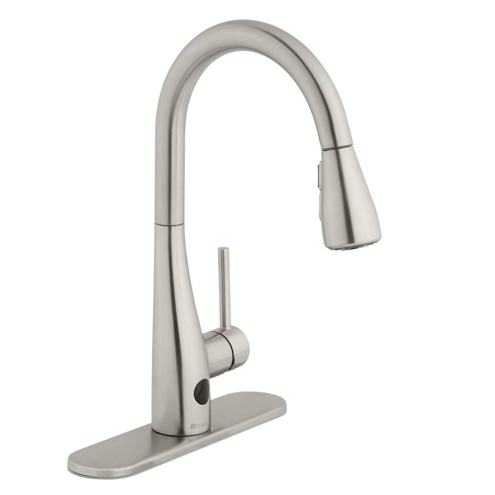 Glacier Bay Nottely Touchless Single-Handle Pull-Down Kitchen Faucet with  TurboSpray and FastMount in Stainless Steel