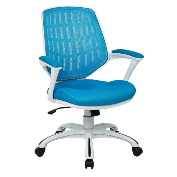 Ave Six Blue Mesh Fabric With White Frame Calvin Office Chair