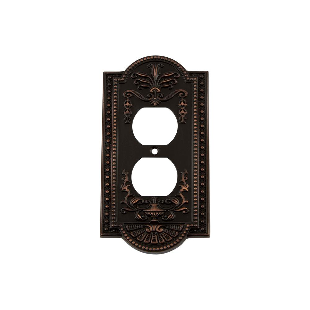 Meadows Switch Plate with Outlet in Timeless Bronze