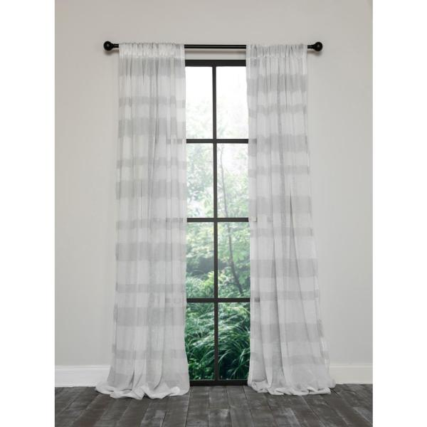 Clara Semi Sheer Rod Pocket Curtain Single Panel, 54 in. x 120 in. White and Gray