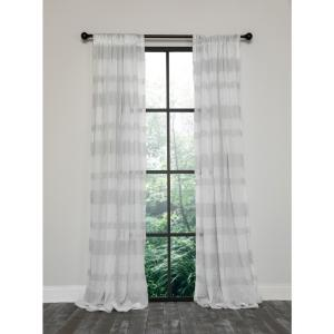 Clara Semi Sheer Rod Pocket Curtain Single Panel, 54 in. x 96 in. White and Gray