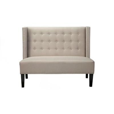 Gray Nail Head Trim Polyester Upholstered Wooden Bench with Button Tufted Back 30.5 in. L x 52.5 in. W x 42 in. H