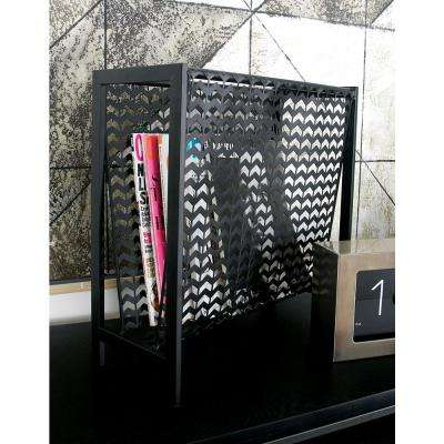 Metallic Black with Chevron Pattern Cutout Design Iron Freestanding Magazine Rack
