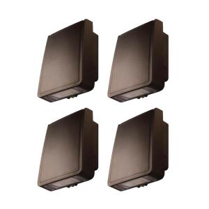 High-Output 200-Watt Equivalent Integrated LED Wall Pack Light with 3000 Lumens Security Lighting, Bronze finish(4-Pack)