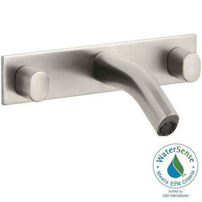 Oblo Wall-Mount 2-Handle Bathroom Faucet in Vibrant Brushed Nickel