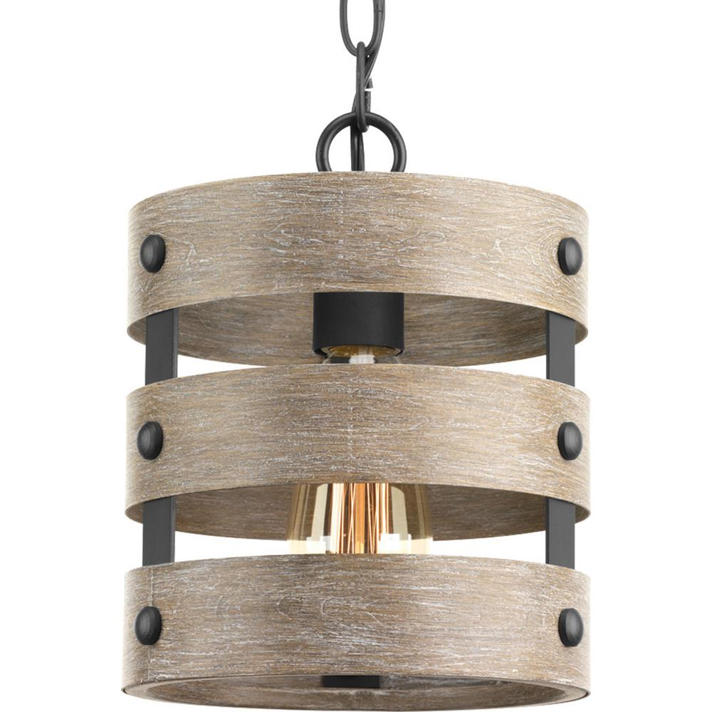 Progress lighting gulliver 1 light graphite drum pendant with progress lighting gulliver 1 light graphite drum pendant with weathered gray wood accents aloadofball Choice Image