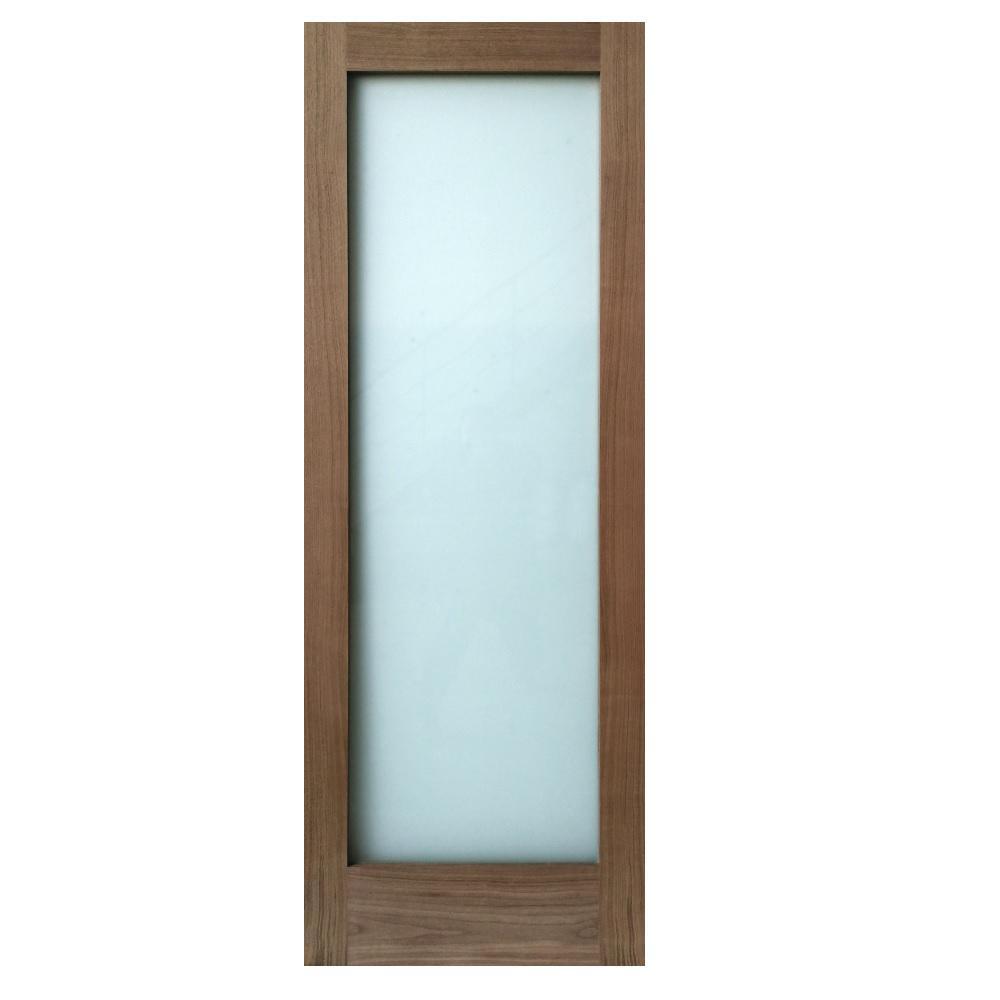 30 in. x 80 in. 1-Lite Satin Etch Walnut Solid Core Wood Interior Door Slab