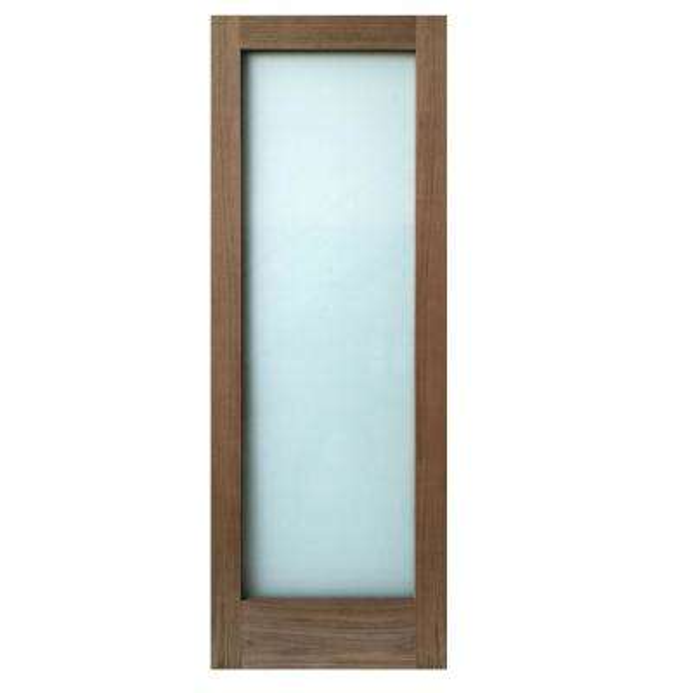 36 in. x 80 in. 1-Lite Satin Etch Walnut Solid Core Wood Interior Door Slab