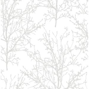 Tree Branches Pearl Gray Vinyl Peelable Roll (Covers 30.75 sq. ft.)