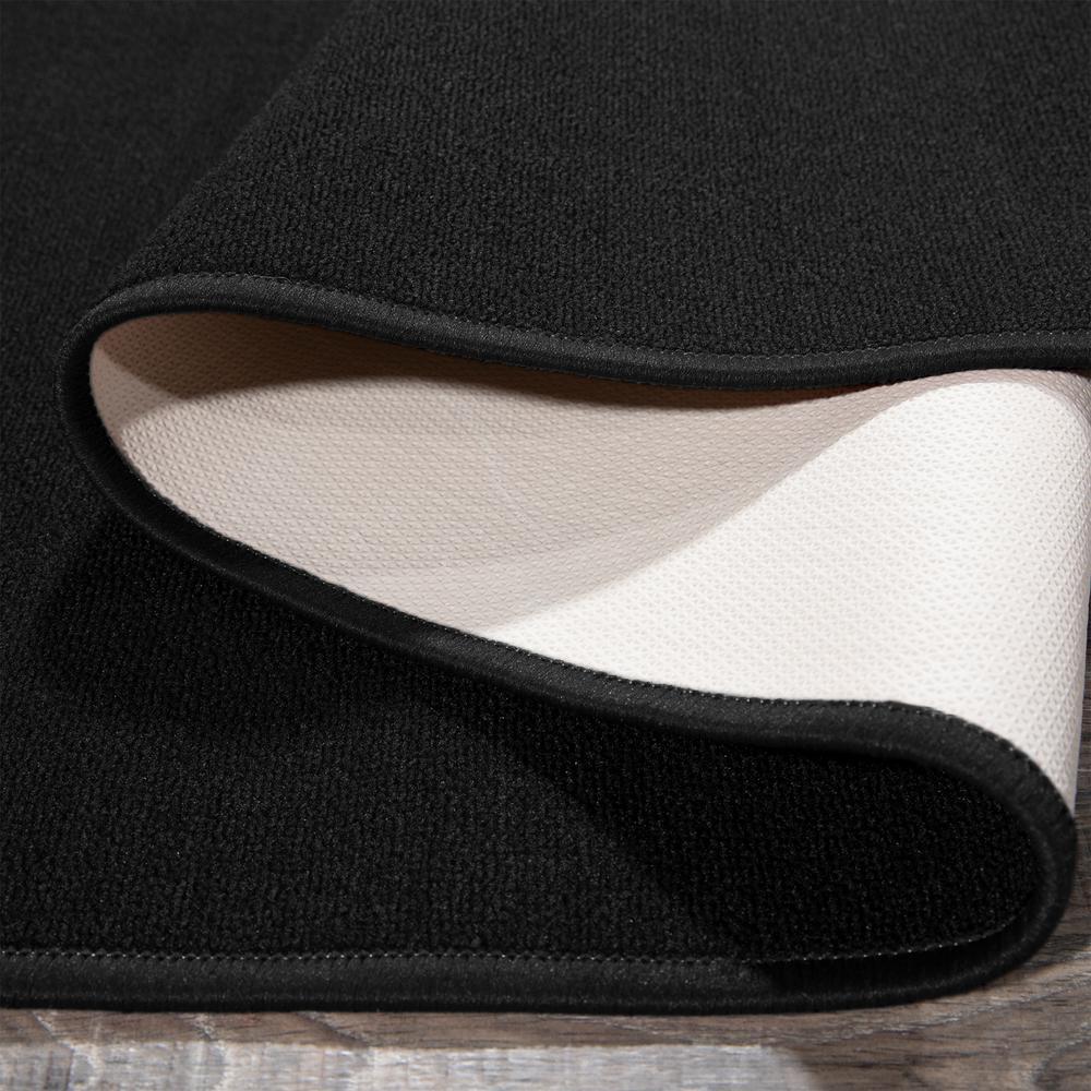 Ottohome Collection Carpet Solid Hallway Wedding Aisle Black Design 2 ft. 7 in. x 10 ft. Non-Slip Runner Rug