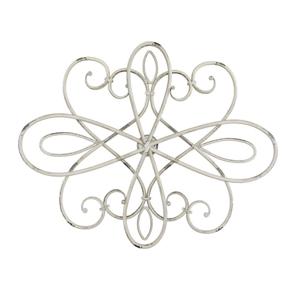 15 in. Oval Swirl Iron Metal Wall Medallion