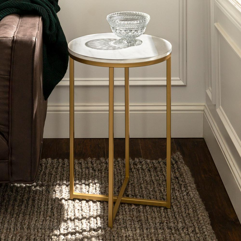 Walker Edison Furniture Company Modern Glam Square Side Table - Faux White Marble/Gold was $91.25 now $59.81 (34.0% off)