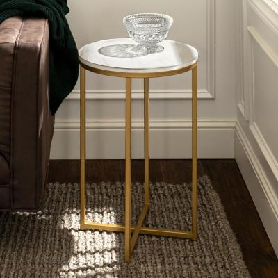 16 in. Marble/Gold Round Side Table