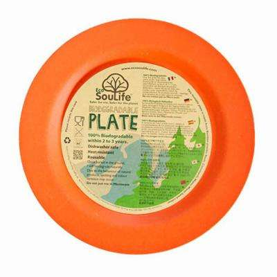 Bamboo 1-Piece Orange Dinner Plate (4-Pack)
