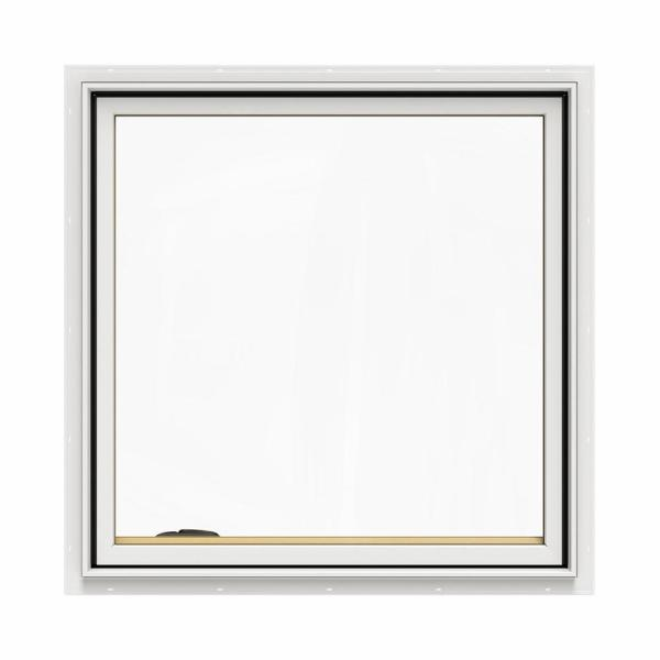 36.75 in. x 36.75 in. W-2500 Series White Painted Clad Wood Left-Handed Casement Window with BetterVue Mesh Screen