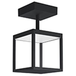 Reveal 1-Light Black Integrated LED Outdoor Semi Flush with Clear Glass