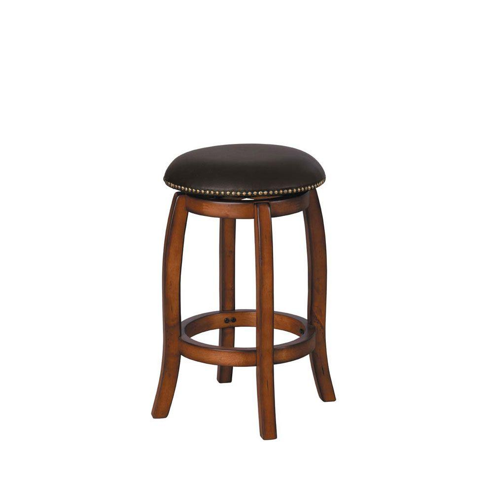Home Decorators Collection Clive 24 in. H Brown Swivel Counter Stool-DISCONTINUED