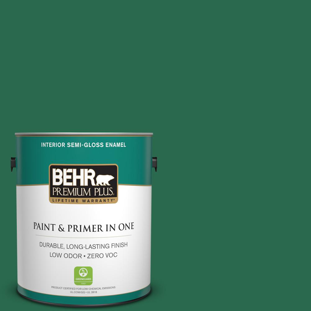 BEHR Premium Plus 1-gal. #S-H-460 Chopped Chive Zero VOC Semi-Gloss Enamel Interior Paint