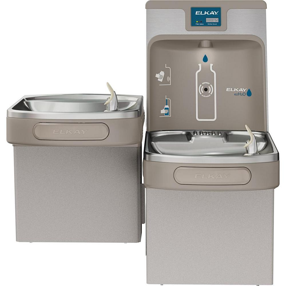 Elkay Filtered 8 GPH EZH2O ADA Light Gray Bi-Level Drinking Fountain with  Bottle Filling Station
