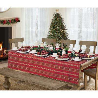 70 in. Round, Red/Green Elrene Shimmering Plaid Holiday Christmas Tablecloth