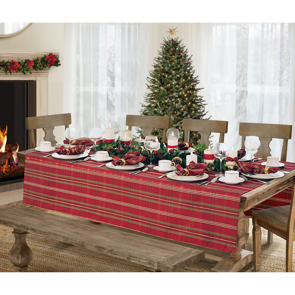 L Red/Green Elrene Shimmering Plaid Holiday Christmas Tablecloth