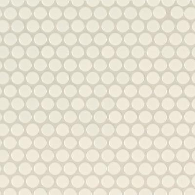 Almond Penny Round 11.57 in. x 12.4 in. x 10mm Glossy Porcelain Mesh-Mounted Mosaic Tile (19.93 sq. ft. / case)
