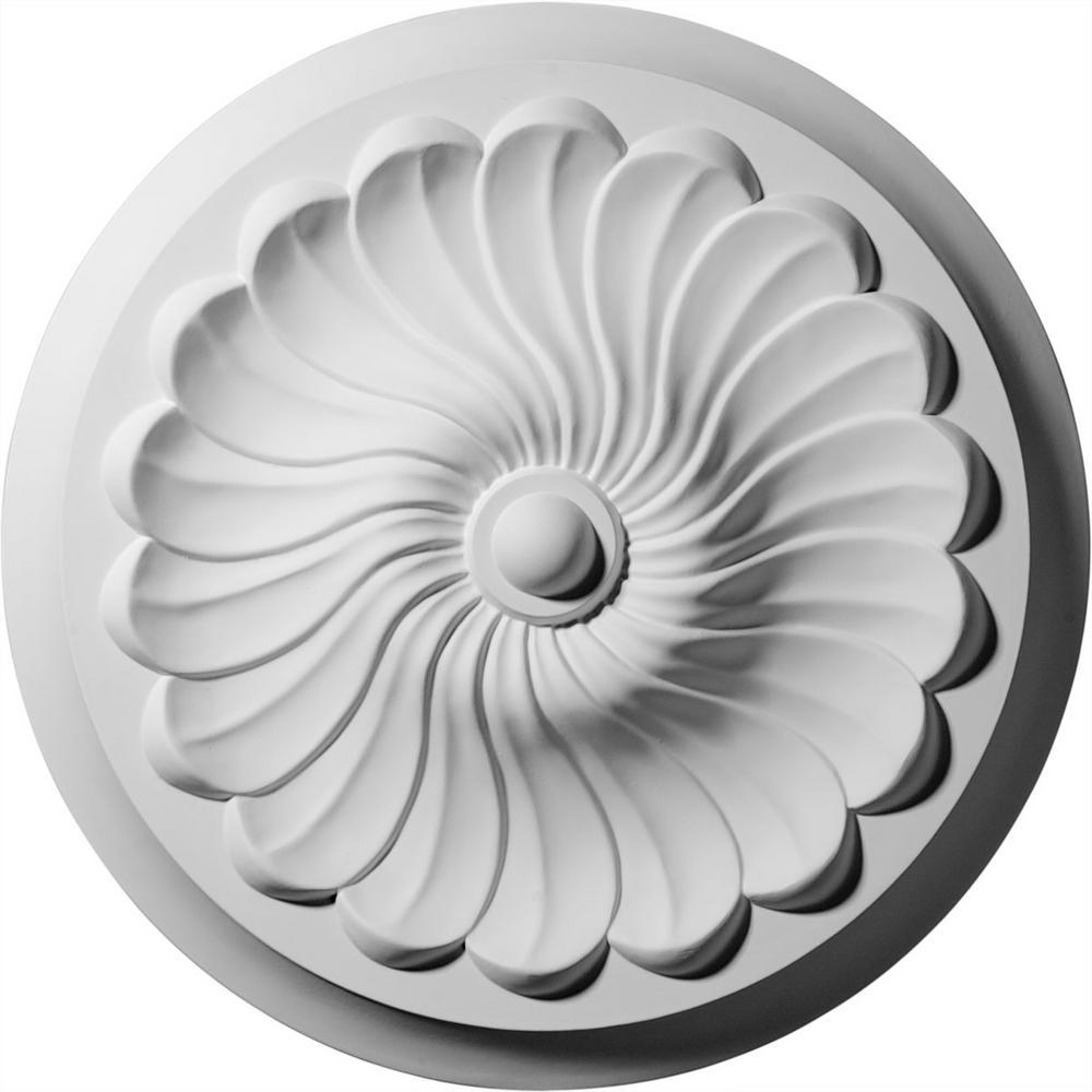 Ekena Millwork 2-1/4 in. x 12-1/4 in. x 12-1/4 in. Polyurethane Flower Spiral Ceiling Medallion Moulding
