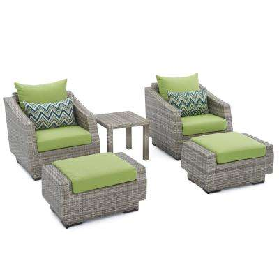 Cannes 5-Piece Wicker Patio Club Chair and Ottoman Set with Ginkgo Green Cushions